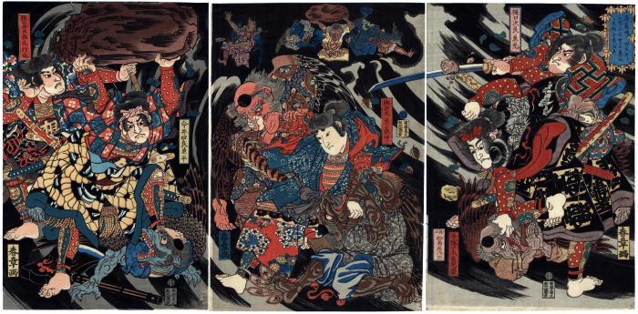 Minamoto Yoshinaka and His Four Retainers Defeat the Tengu in the Deep Mountains of Kiso (<i>Minamoto Yoshinaka Shitennō to tomo ni Kiso no okuyama ni tengu o taiji su</i>  - 源義仲四天王トともに木曽の奥山に天狗を退治す)
