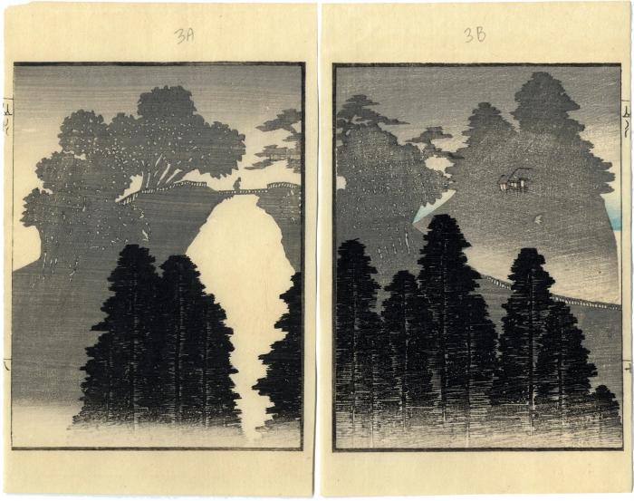 Double page illustration from the Ichirō Gafu (<i>Ichirō Picture Book</i>)