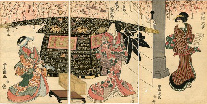 Possible scene from <i>Kagamiyama Kokyō no Nishikie</i>  ('Mirror Mountain: A Women's Treasury of Loyalty' [鏡山旧錦絵]) - Nakamura Daikichi I (中村大吉) on the right, Onoe Kikugorō III (尾上菊五郎) as Iwafuji in the center, and Ichikawa Monnosuke III (市川門之助) on the left.