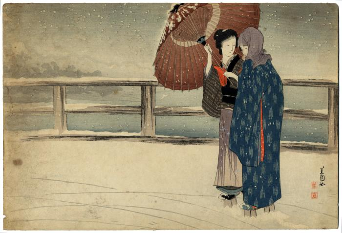Two women on bridge in snow with umbrella