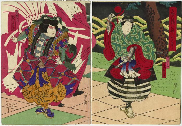 Ichikawa Udanji I [市川右団治] as Kainosuke [甲斐之助] on the right and Onoe Tamizō II [尾上多見蔵] as Komakine Hachirō [駒木根八郎] on the left, in <i>Irokurabe Aki no Nanakusa</i> (色競秋七草) [(sic) - actually <i>Keisei Nazuna no Sekku</i> - けいせい薺佳節]