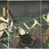 'An Old Tale of Conflict in the East' (<i>Mukashi gatari Azuma no tatehiki</i> - 昔語東の立引) - Nakamura Shikan IV [四代目中村芝翫] as Yottsuibishi Chōgorō (四ツイ菱長五郎) on the right, Bandō Hikosaburō V [五代目坂東彦三郎] as Kogashira Mekurajimanohiko (小頭めくら島ノ彦) in the center, Bandō Kamezō I as the <i>otokodate</i> Kanehara  and Ichikawa Ichizō III as Mitsuhiki Ichigorō (三ッ引市五郎) on the left