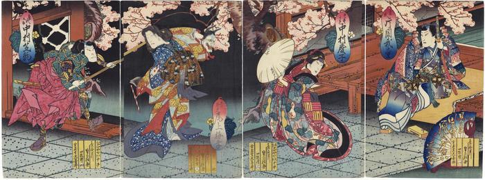 From right to left: Kataoka Gadō II (片岡我童) as Hikaru Uji (光氏); Nakamura Tomijūrō II (中村富十郎) as Tasogare (たそかれ); Onoe Kikugorō III (尾上菊五郎) as Shinonome (しののめ); Nakamura Shikan III (中村芝翫) as Kiyonosuke (喜代之助)