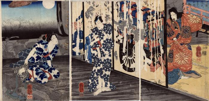 An Old Picture of an Up-to-Date Teruuji at the Old Temple (<i>Imayō Teruuji kodera no kozu</i> - 今様輝氏古寺之古図) A Rustic Genji theme