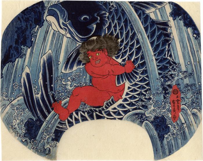 The young Benkei, Oniwakamaru (Young Devil Child), fighting the giant carp in the waterfall of Bishamon gataki