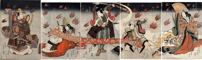 From right to left: Nakamura Sankō I (中村三光) as the fox Kojorō (小女郎狐); Kataoka Nizaemon VII (片岡仁左衛門) as Sengoku Gonpei (仙石権平); Ichikawa Ebijūrō I (市川鰕十郎) as Takechi Samanosuke (武智左馬之助); Arashi Koroku IV (あらし小六) as Izumo no Okuni (いつものおくに); and Nakamura Utaemon III (中村歌右衛門) as Nagoya Sanza (名古屋山三)