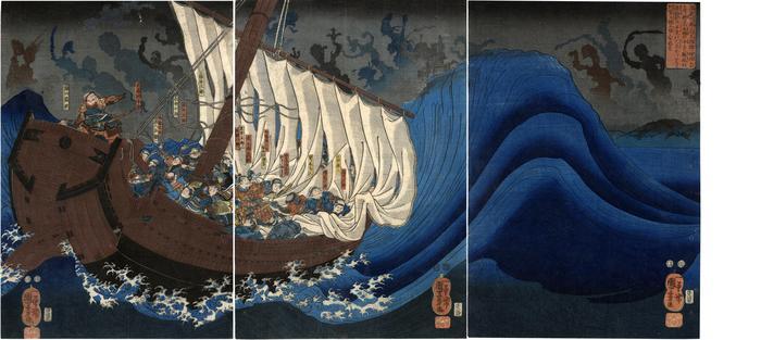 Yoshitsune's ship attacked by ghosts of the Taira warriors at Daimotsu Bay - 大物浦平家の亡霊